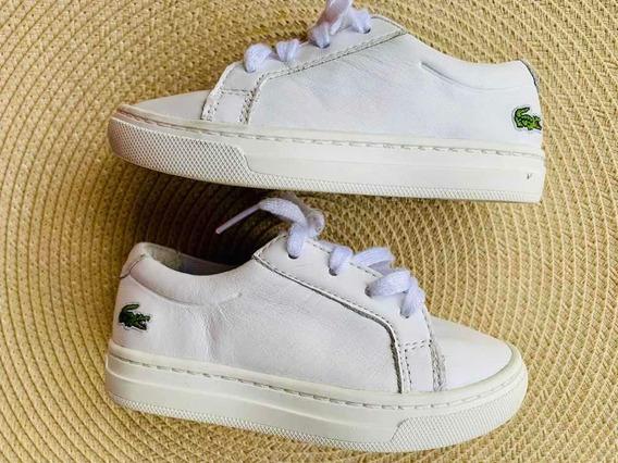 Zapatillas Lacoste Niños Blancas Talle 23