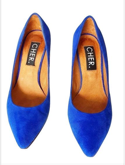 Zapatos Gamuzados María Cher Azul