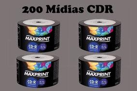 200 Cd-r Virgem Maxprint Mídia Gravável 52x 700mb 80min