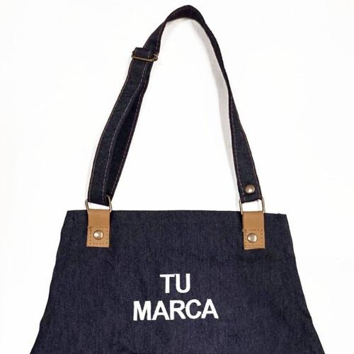 Delantal De Jean Y Cuero Vacuno Bordado Con Tu Marca O Logo