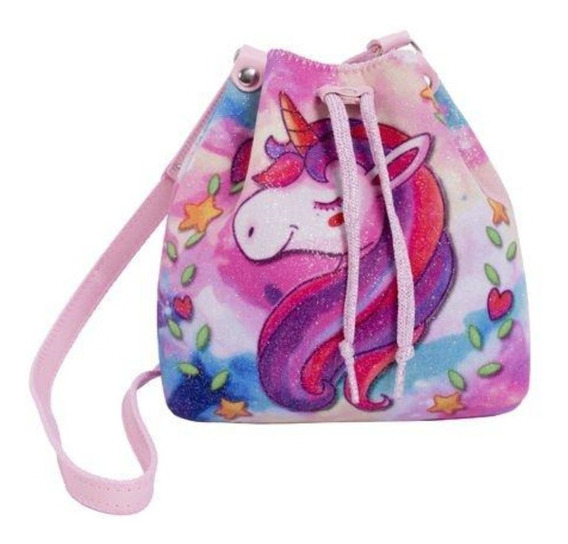 Bolsa Infantil Princesa Pink Bucket Gliter Unicornio