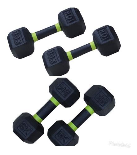 Combo De Mancuernas Pesas Gym Par De 8kg + Par De 10kg.
