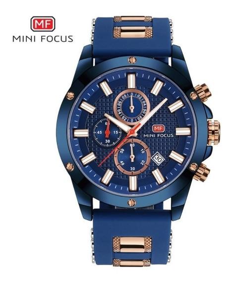 Relógio Masculino Azul Dourado Aço Inox Borracha Mini Focus
