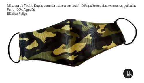 Máscara De Tecido Camuflado Forro Duas Camadas Kit Com 50