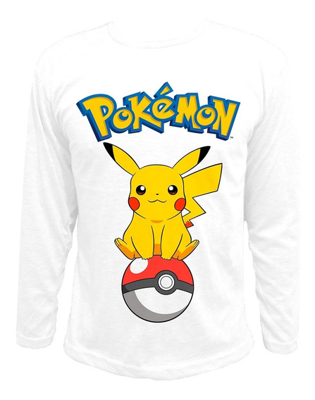 Remera Manga Larga Chicos Pokémon Pikachu Pokebola Sublimada