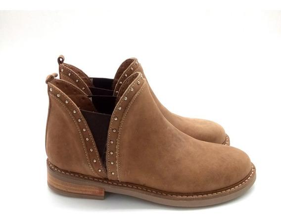 Botineta Bota Corta Base Goma Cuero Mujer Zapato 1551/mk