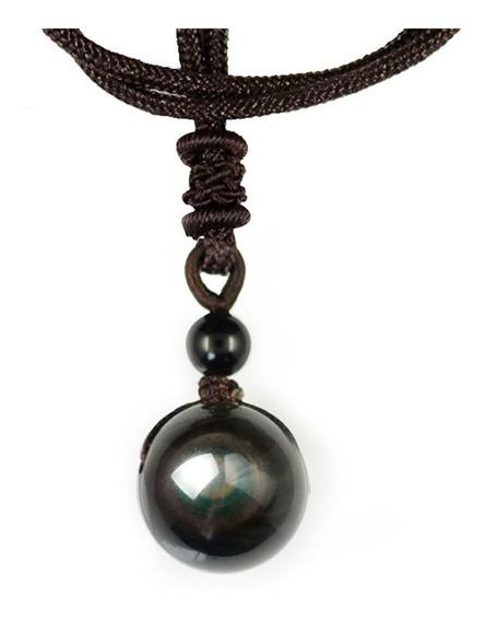 Colar Obsidiana Negra Pedra Natural 16mm