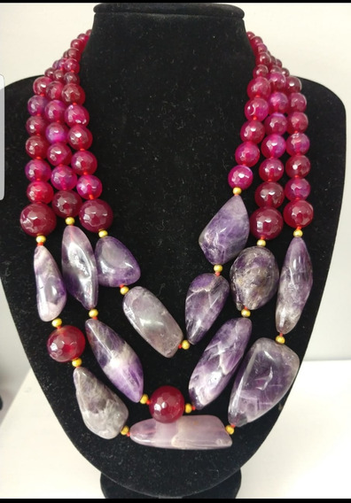 Collar Piedra Natural, Agata Fuscia Y Amatista Envío Gratis