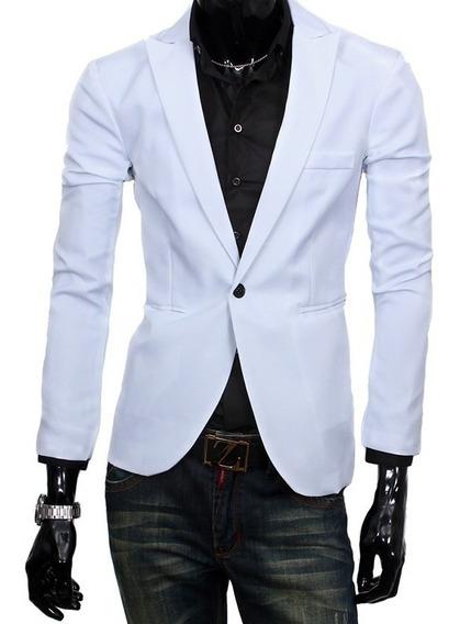 Blazer Slim Fit Masculino Casual Branco Frete Grátis