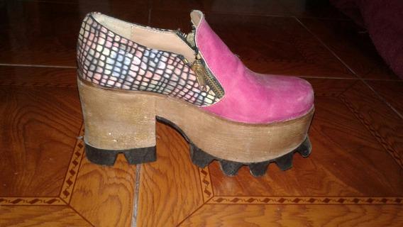 Zapatos Fucsias Y Multicolor Base Tractor Impecables Num 35