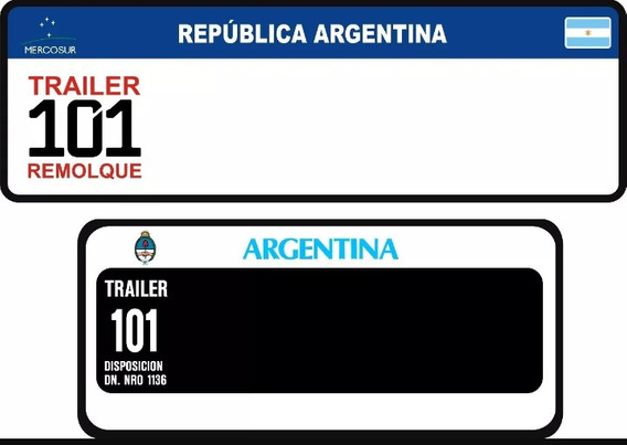 Patentes Sticker Reglamentaria Trailers