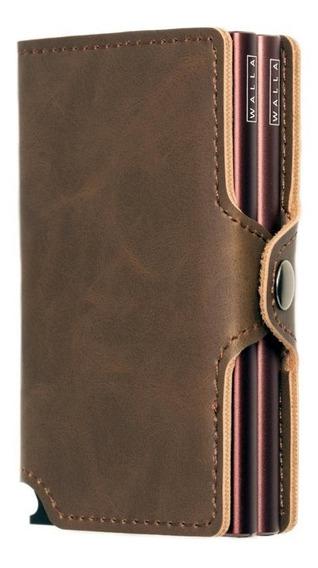 Billetera Walla Wallets Doble - Vintage Pardo