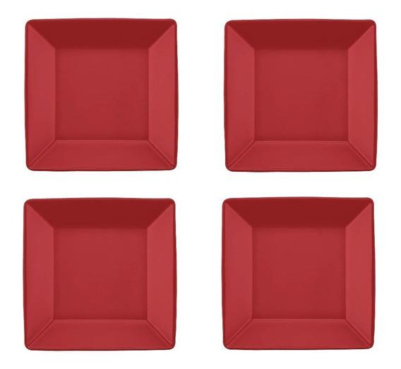 4 Pratos Quadrado Fundo 21x21cm - Quartier Red Oxford Cozinh