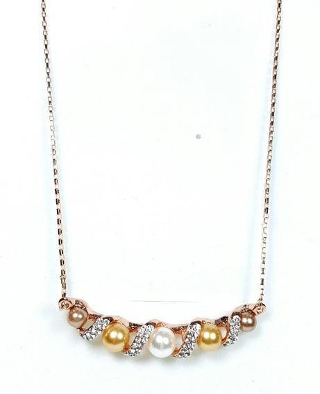 Collar De Oro Rosa 18k Con Perlas Y Brillantes.