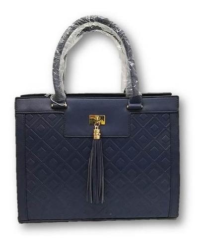 Imagen 1 de 5 de Bolso De Dama Modelo Diseño Cuadros Azul/café Ber3jy7