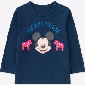 Camiseta Ml Botão Ombro Mickey Uniqlo 18 Meses