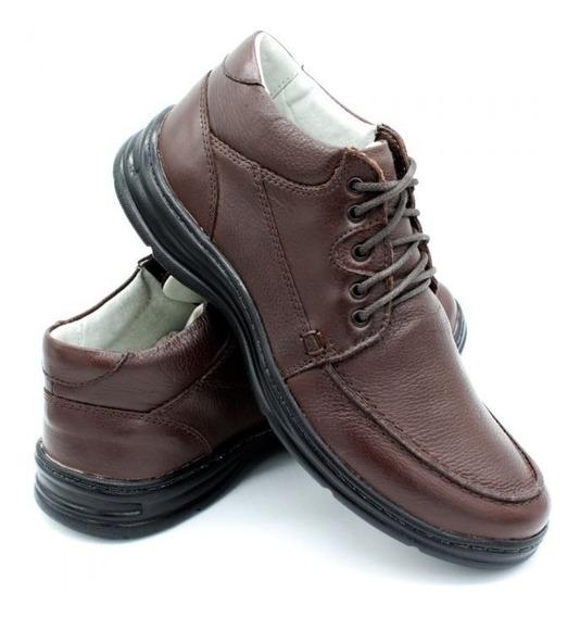 Sapato Masculino Social Palmilha Gel Sapatênis Casual Ortopédico Conforto Couro Legitimo Promoção