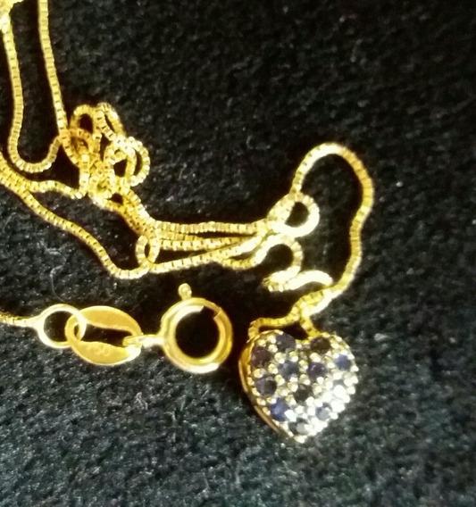 Corrente Ouro Colar Gargantilha Coração Safiras -satomi