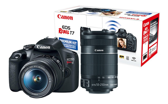 Eos Rebel T7 Premium Kit C/ Lente Ef-s 18-55mm + Ef-s 55-250