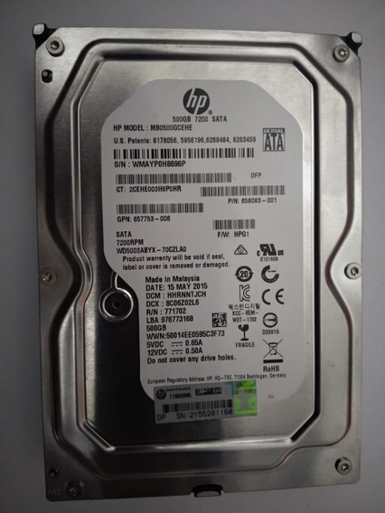 Hd Servidor Hp 500gb 7200 Sata Modelo Mb0500gcehe