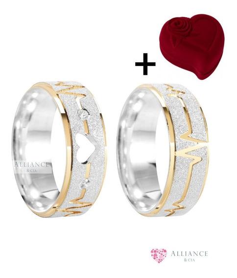 Par Aliança Prata Namoro Coração Vazado Ouro Al44 Bc