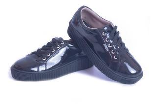 Zapato Zapatilla Mujer Negra Sneaker Urbana Moda