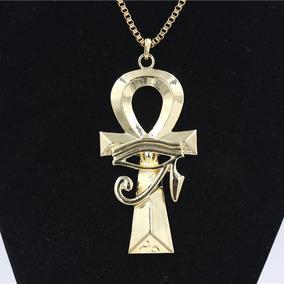 Colar Olho De Horus Egípcio Cruz Corrente Ouro Frete Grátis