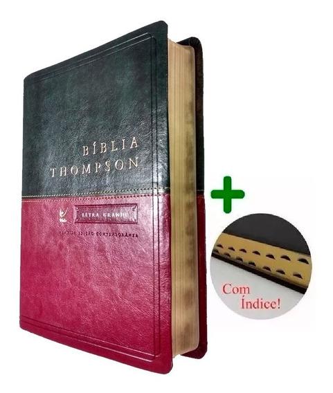 Bíblia De Estudo Thompson Grande Vinho Luxo Dourada + Indice