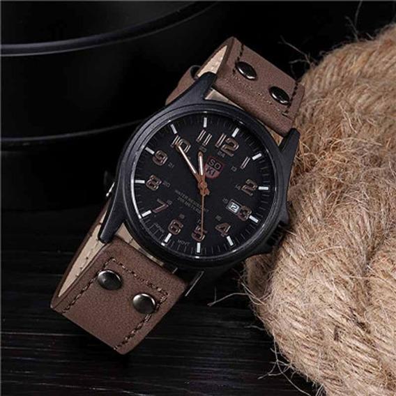 Relógio Masculino Pulseira Couro Nylon Militar Melhor Preço!