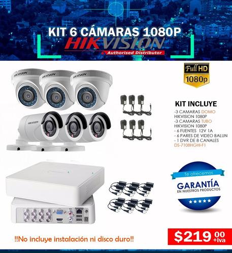 Kit 6 Cámaras Para Interior Y  Exterior  Hd 1080p Hikvision