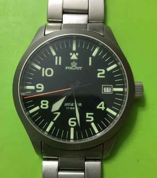Relógio Poljot Aviator C/ Coroa Rosqueada Ótimo Estado Raro!