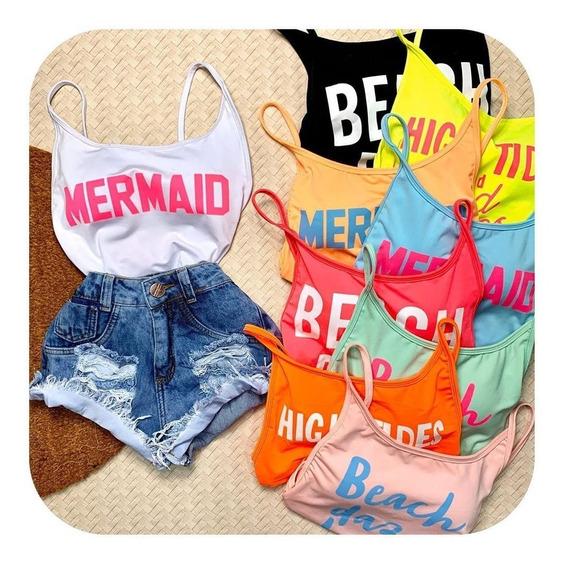 Kit Com 3 Body Maiô Verão C Bojo Mermaid Bubu Moda Blogueira