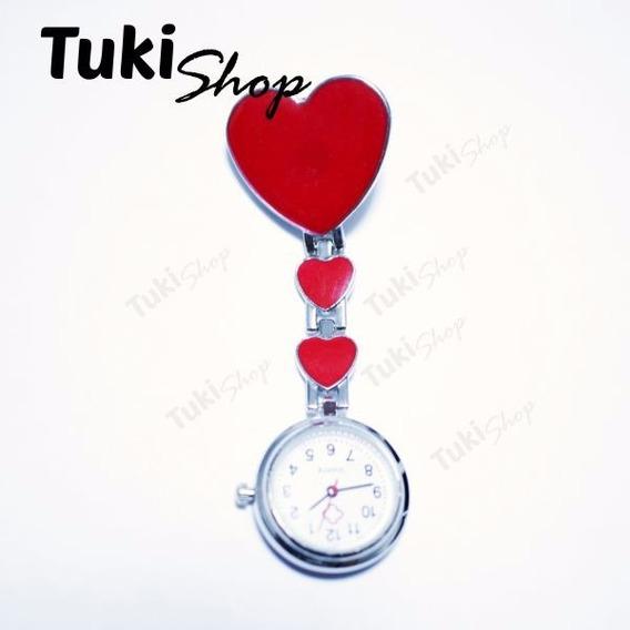 Reloj Enfermera Accesorio Colgante Corazones Rojo Tuki