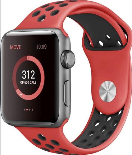 Pulseira Estilo Nike P/ Apple Watch 38/40mm Vermelho C Preto
