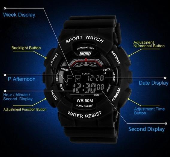 Relógio Esportivo A Prova Dágua 50 M Skmei Multifunção Led