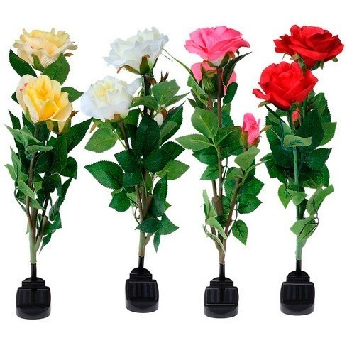 Rosas Com Lâmpada De Led Solar