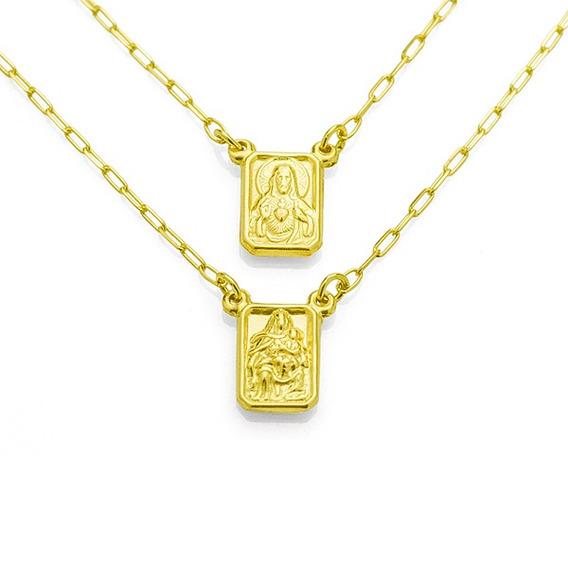 Escapulário De Ouro 18k N. Sra. Do Carmo E Sagrado Coração G
