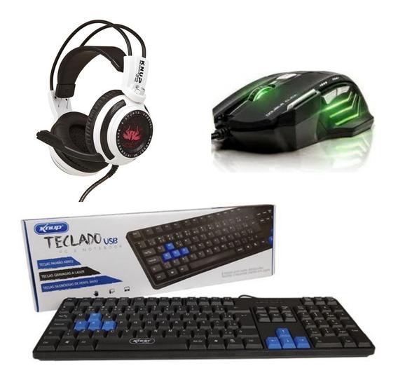 Kit Gamer Headset 7.1 + Mouse Led E Teclado Gamer P/ Jogos