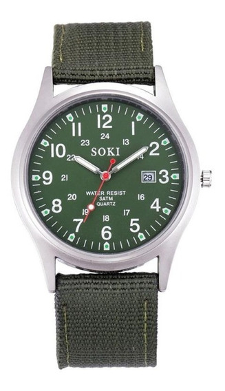Reloj Militar Acero Cuarzo Marca Soki Color Verde Lona