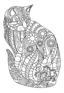 Dibujo Mandala Gato Para Imprimir Y Colorear