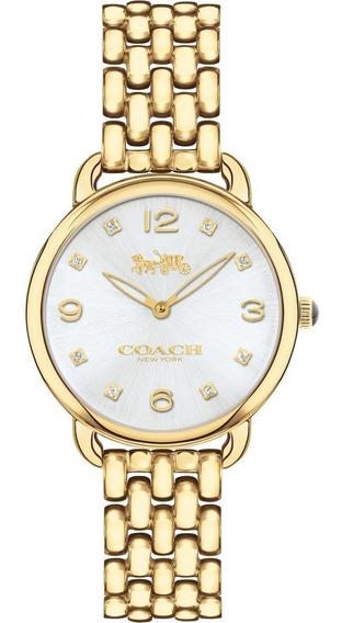 Reloj Coach Delancey Slim Silver Gold Dial Tone Watch 28mm