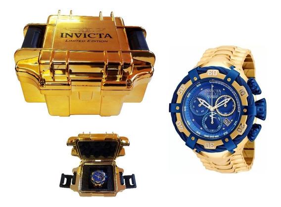 Relógio Pa 678 Zeus Thunderbolt Dourado Azul Imperdivel C/nf