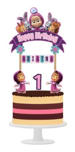 Imagen 1 de 6 de Cake Topper Masha Y El Oso Adorno Para Tortas Personalizado