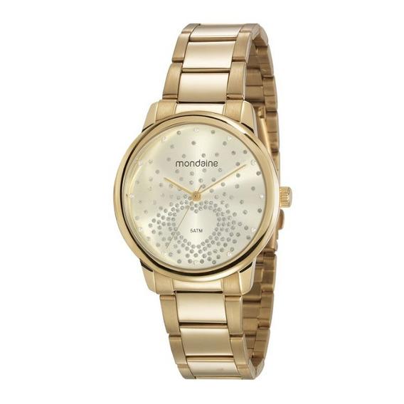 Relógio Mondaine Feminino Adulto Feixo Metal Dourado 53699