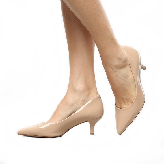 Sapato Scarpin Escritório Salto Médio Bico Fino Moderno