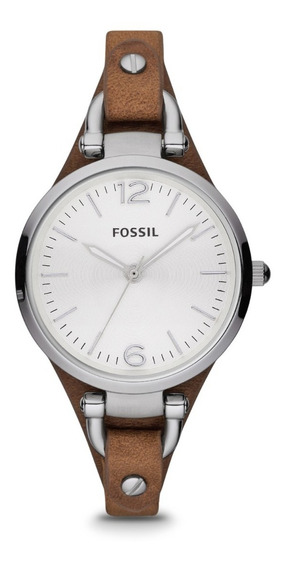 Reloj Dama Fossil Es3060 Color Café De Piel