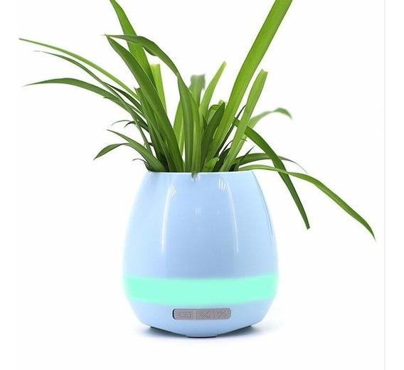 Vaso Decorativo Luz Led Bluetooth Caixa Som Música Sensor