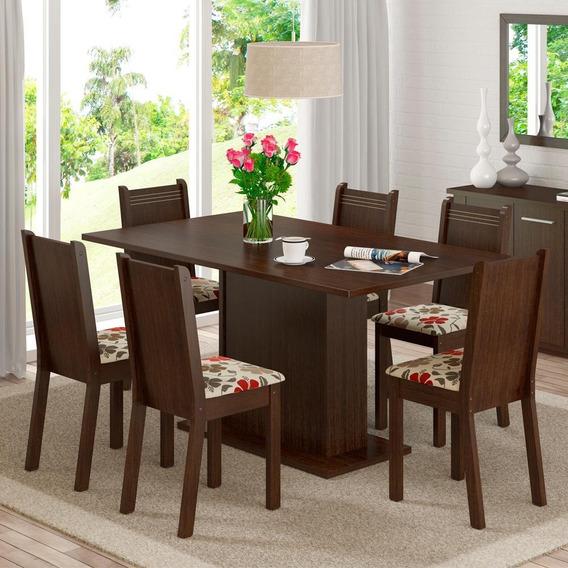 Sala De Jantar Madesa Megan Mesa Tampo De Madeira 6 Cadeiras