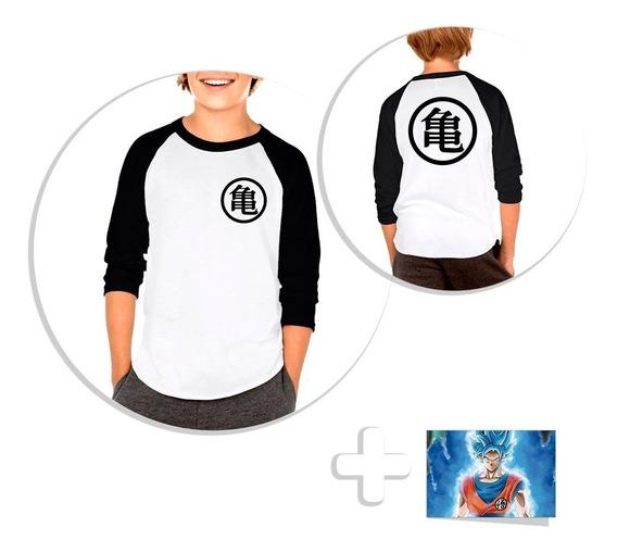 Envío Gratis Playera Raglan Niño Dragon Ball Goku + Sticker
