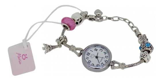Relógio Feminino Aço Maria Analógico Estilo Pulseira Tr1p